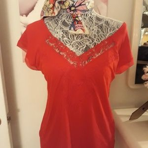 Red lace business casual top